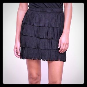 Abercrombie fringe faux suede skirt size 8